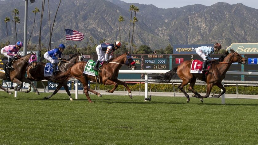 Horses run at Santa Anita during the resumption of races at the track on Friday. A horse died during Sunday's races.