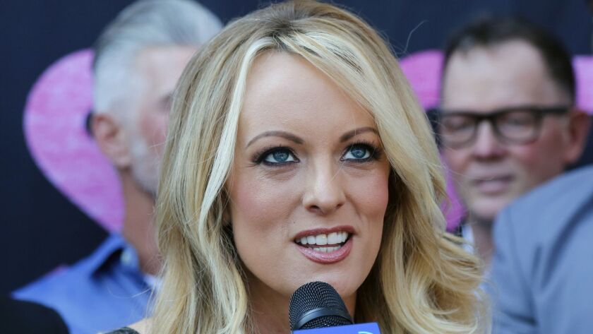 FILE - In this file photo dated Wednesday, May 23, 2018, Stormy Daniels speaks during a ceremony for