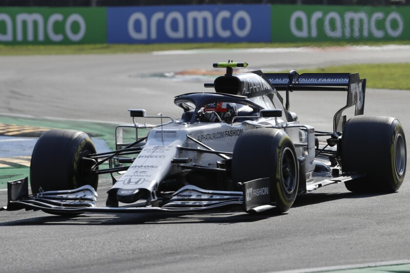 AlfaTauri driver Pierre Gasly of France steers his car during the Italian Formula One Grand Prix, at the Monza racetrack in Monza, Italy, Sunday Sept. 6, 2020. (AP Photo/Luca Bruno, Pool)