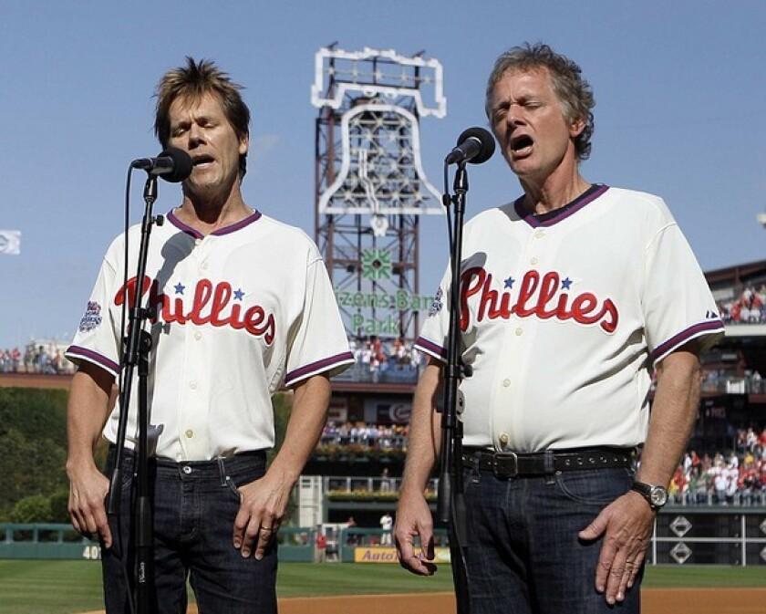 The Bacon Brothers (Kevin, left, and older brother Michael) kicked off the first game of the 2009 World Series by singing the national anthem in their native Philadelphia.