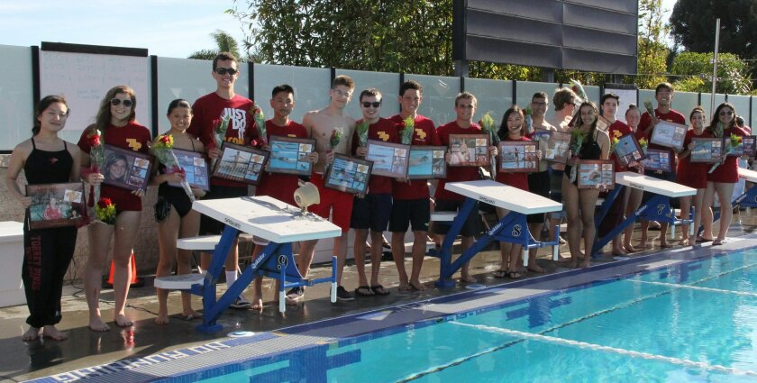 Torrey Pines High School kicked off the 2015 swim and dive season March 14 with a home meet against La Costa Canyon. The four-time CIF champs, led by Coach Richard Contreras, won the meet and honored 19 seniors.
