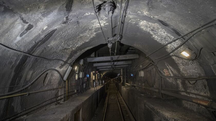 Damage to the Hudson River rail tunnel is visible during a tour that began Wednesday, Oct. 17, 2018,