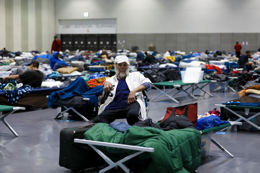Michael Ratchford is among the homeless San Diegans that have been sheltered in the temporary shelter set up at the San Diego Convention Center.