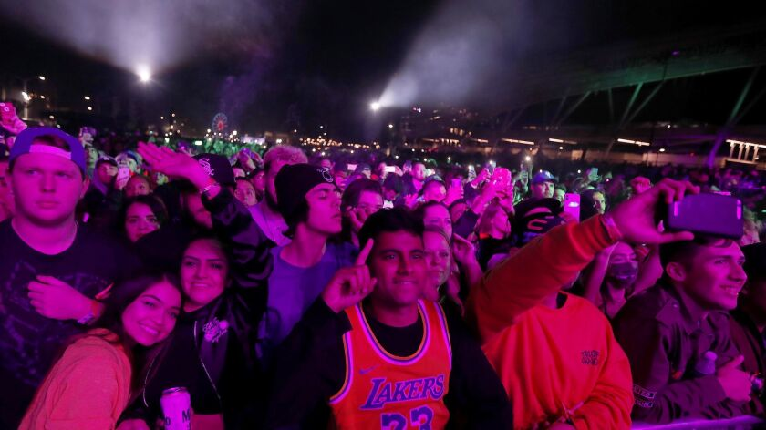 The crowd at this year's Rolling Loud hip-hop festival, held in and around Exposition Park.