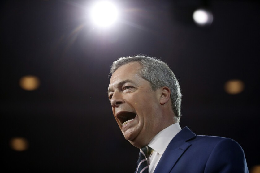 Nigel Farage, leader of the United Kingdom's Independence Party, speaks at the Conservative Political Action Conference on Feb. 24, 2017, in Oxon Hill, Md.