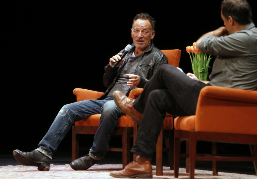 "Musician Bruce Springsteen talks about his book ""Born to Run"" with Dan Stone last week at the Nourse Theater in San Francisco."