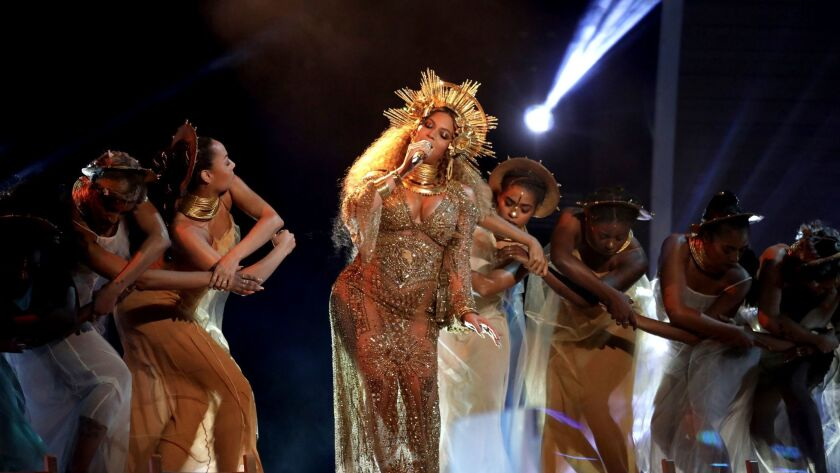 Beyoncé performs at the 59th Grammy Awards on Feb. 12 in Los Angeles.