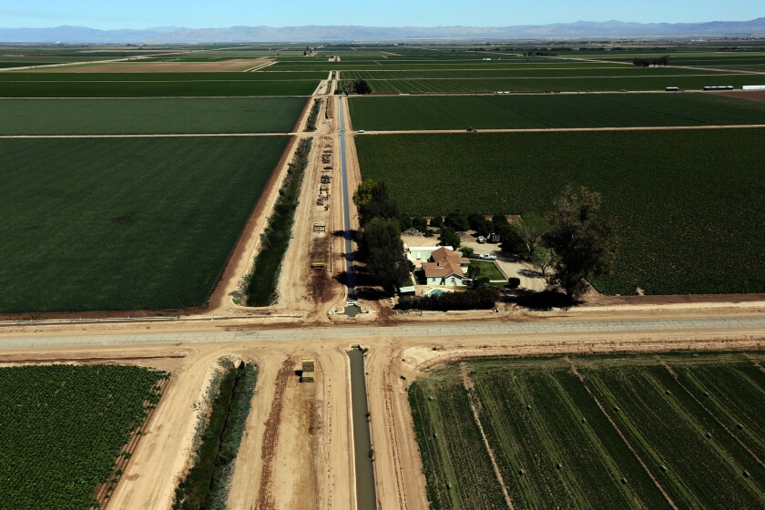 Lush green farms in Brawley that draw water from the Colorado River. The Imperial Irrigation District gets most of the state's share of the Colorado River.