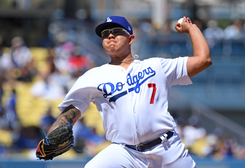 The Dodgers' Julio Urías pitches against San Francisco on Sept. 8, 2019.