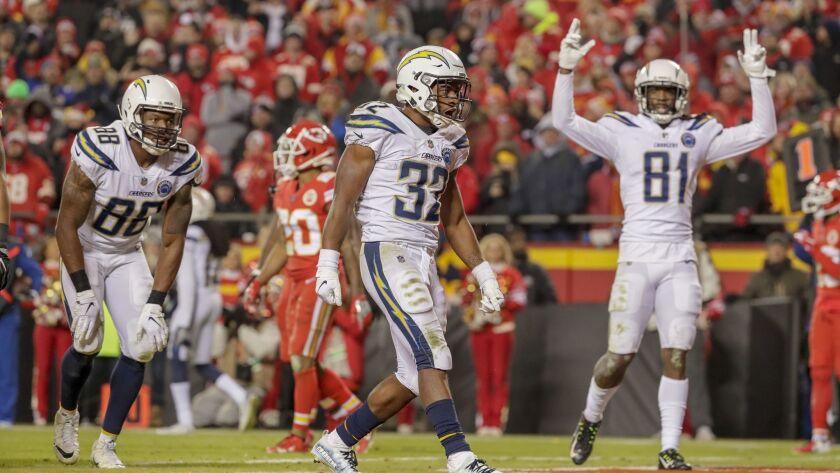 KANSAS CITY, MO., THURSDAY, DECEMBER 13, 2018 - Chargers running back Justin Jackson celebrates afte