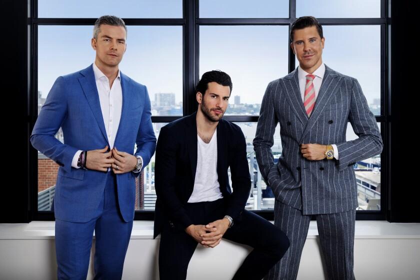 "The stars of Bravo's ""Million Dollar Listing New York"" battle a down market on the show's eighth season. From left, Ryan Serhant, Steve Gold and Fredrik Eklund."