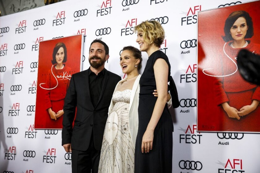 """Director Pablo Larrain, Natalie Portman and Greta Gerwig pose on the red carpet for the premiere of """"Jackie"""" during the AFI Fest."""