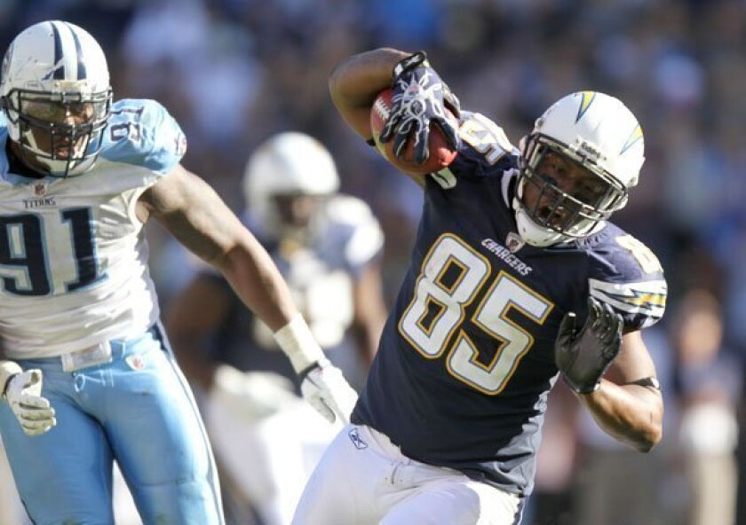 Antonio Gates, who was hurt in this Oct. 31 game against Tennessee, might not play during the remainder of the regular season.