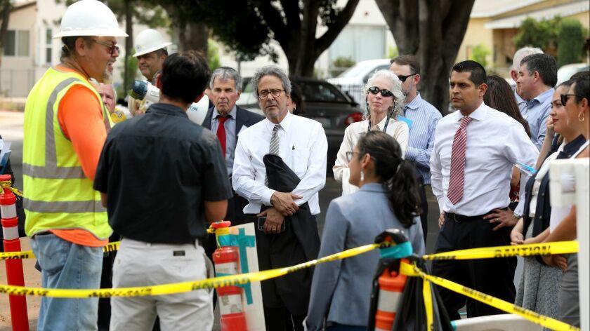 LOS ANGELES, CALIF. -- THURSDAY, AUGUST 9, 2018: Assemblyman Richard Bloom (D-Santa Monica), center