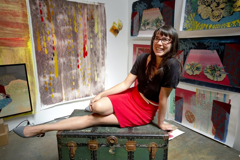 Artist Eva Struble in her studio at Space 4 Art.
