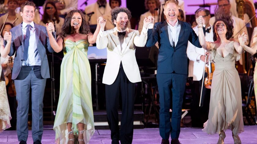 """""""Sondheim on Sondheim"""" at the Hollywood Bowl with, from left, Jonathan Groff, Vanessa Williams, Gust"""