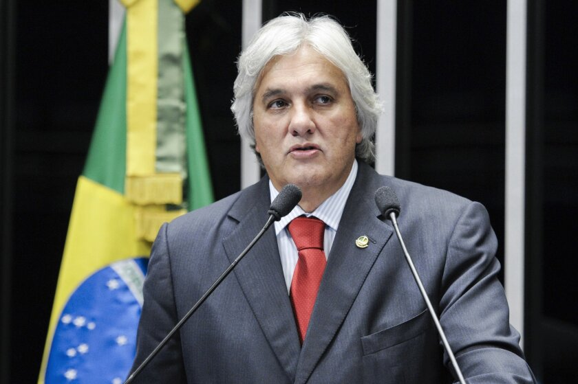 This Feb. 26, 2014 photo, released by the Agencia Senado, shows Brazilian Sen. Delcidio do Amaral of the ruling Worker's Party. Brazilian police arrested Amaral, the government's leader in the Senate, for allegedly obstructing the investigation into a corruption scandal at state-owned oil company Petrobras. (Pedro Franca/Agencia Senado via AP)