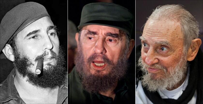 Este combo de tres fotos muestra a Fidel Castro, desde la izqquierda: en La Habana, Cuba, 29 de abril de 1961; hablando a la prensa cuando fue a buscar a Elián González en Washington, 6 de abril de 2000; y en su casa en La Habana, 13 de febrero de 2016. (AP Fotos/Files)