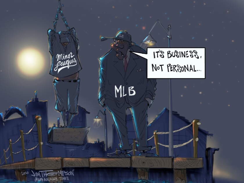 MLB and the minor leagues cartoon.