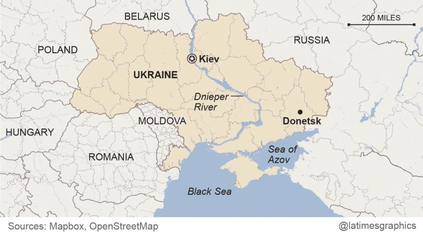 Map of Donetsk, Ukraine