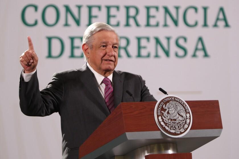 El presidente de México, Andrés Manuel López Obrador, habla durante una rueda de prensa