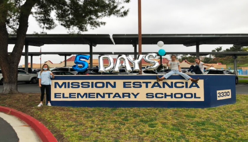 Mission Estancia students celebrate being back at school five days a week.