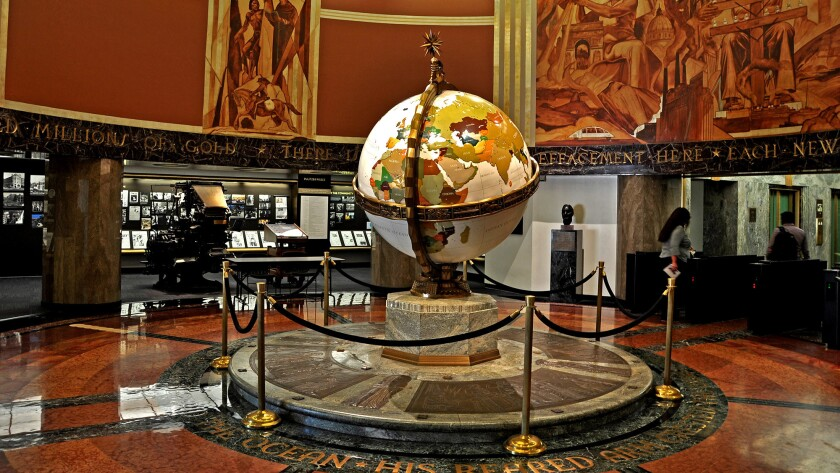 The historic Globe Lobby at the Los Angeles Times building in downtown L.A..