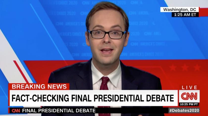 A screenshot of presidential fact-checker Daniel Dale on CNN.