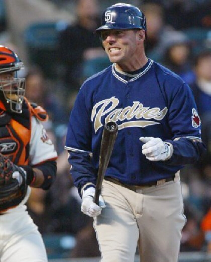 Jim Edmonds reacts after striking out against the Giants last month. He struck out 24 times in 90 at-bats for the Padres, with just three extra-base hits. AP Photo/George Nikitin