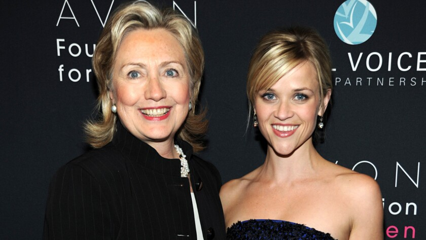 Hillary Rodham Clinton, who was then secretary of State, and actress Reese Witherspoon attend the Vital Voices 2010 Global Leadership Awards.