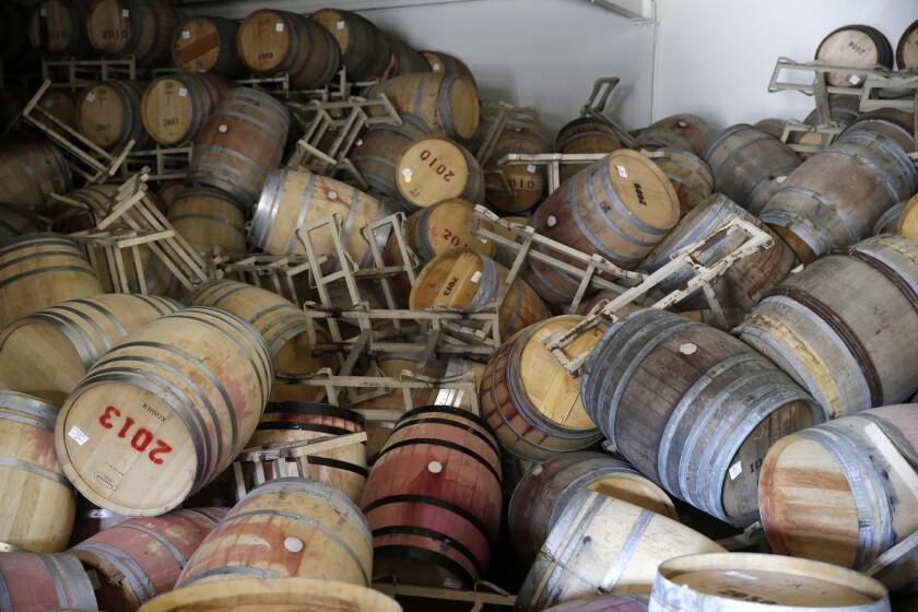 Toppled barrels at B.R. Cohn Winery.