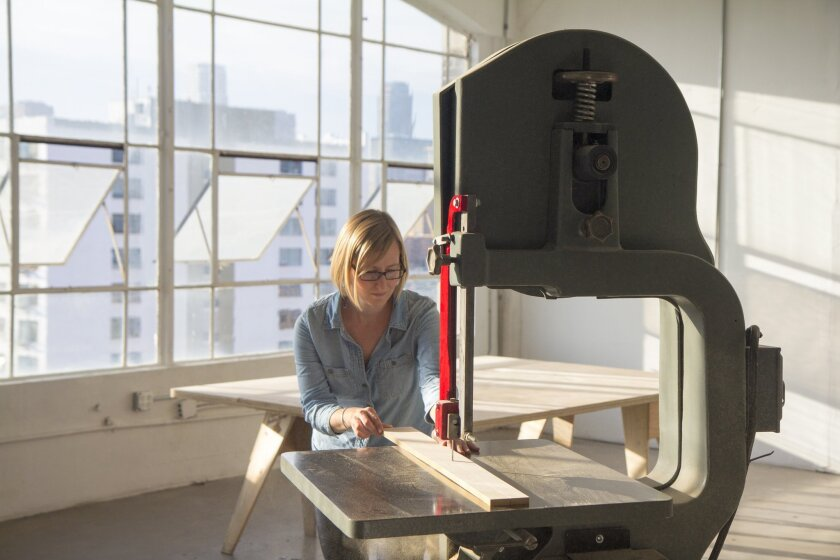 Laura Zahn at Off the Saw, a new collaborative wood shop in downtown Los Angeles,