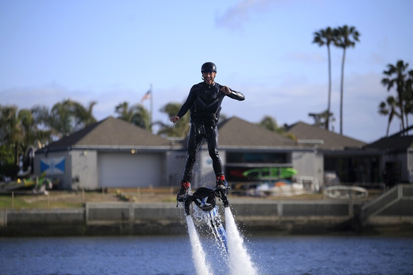 Cristian and Richard started off the date at Jet Pack America in Mission Bay. (David Brooks)