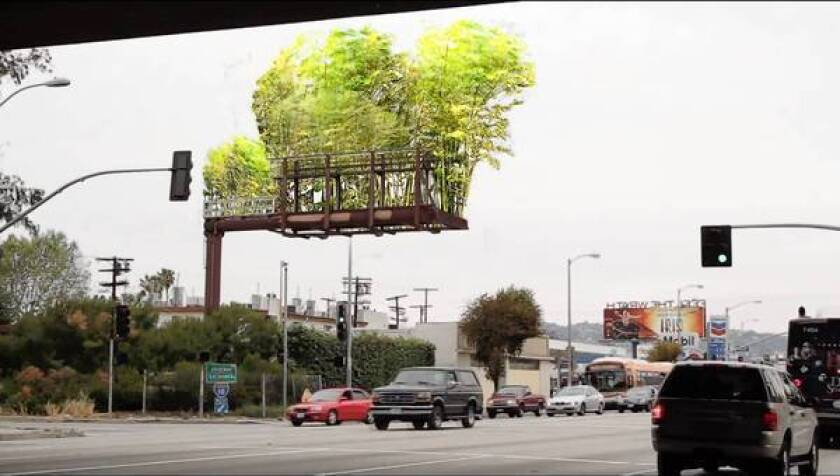 A photo illustration created by Stephen Glassman shows how he aims to transform billboards into suspended bamboo gardens and create an open space in the L.A. skyline.