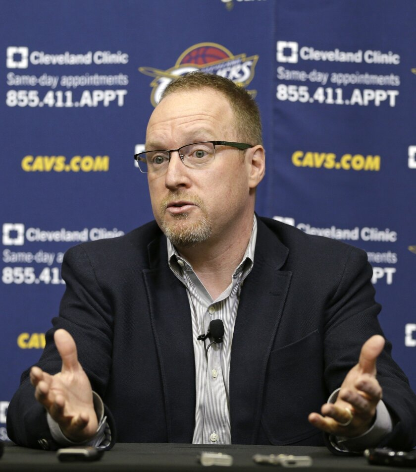 Cleveland Cavaliers interim general manager David Griffin answers questions during a news conference Tuesday, April 22, 2014, in Independence, Ohio. Unsure of his own future, Griffin discussed Cleveland's disappointing season, which ended for the fourth straight year shy of the NBA playoffs.(AP Photo/Tony Dejak)