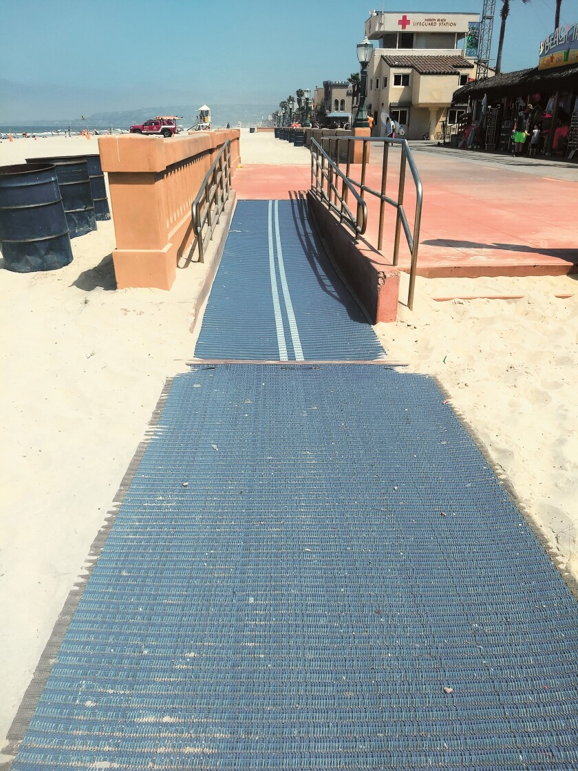 A proposed new ADA-access ramp on the north end of Kellogg Park in La Jolla Shores would resemble this one at Mission Beach.