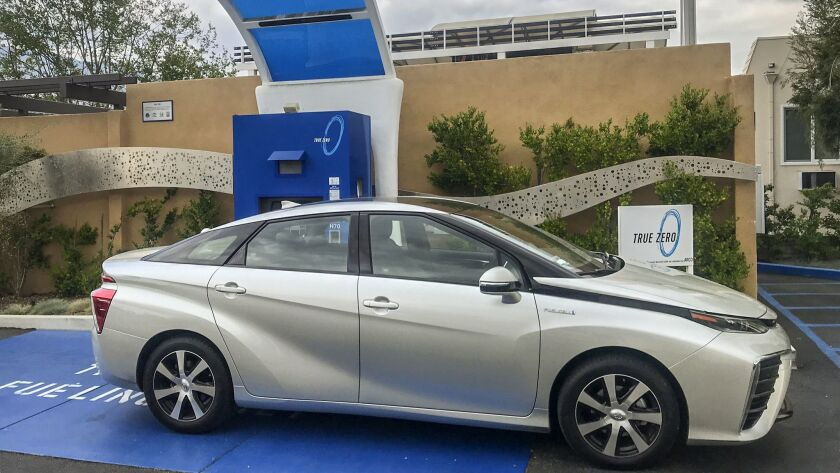 Toyota Mirai at the hydrogen fueling station in Hollywood, California.