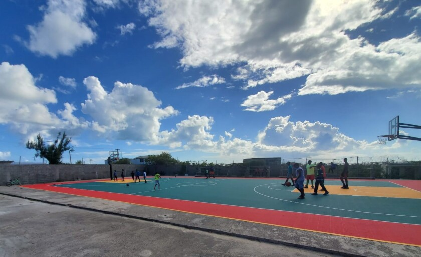 A new basketball court on the Caribbean island of Barbuda, one of the stops for former Hoover High coach Ollie Goulston in his job as international scout.