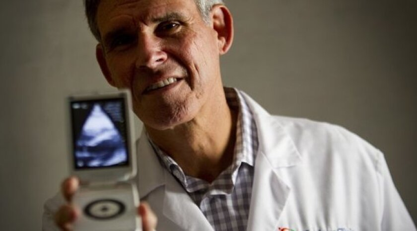 Eric Topol uses such wireless, mobile medical devices as the Vscan ultrasound (shown here), and the AliveCor heart monitor, which he used to diagnose a patient on Tuesday.
