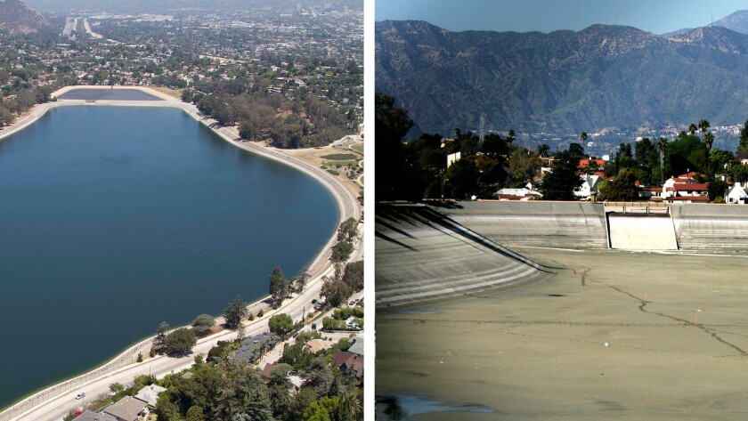 A diptych showing a full Silver Lake Reservoir in 2013 and when it was drained in 2008. The reservoir will be temporarily drained this summer as part of a Los Angeles Department of Water and Power project to build a new water pipeline beneath it.