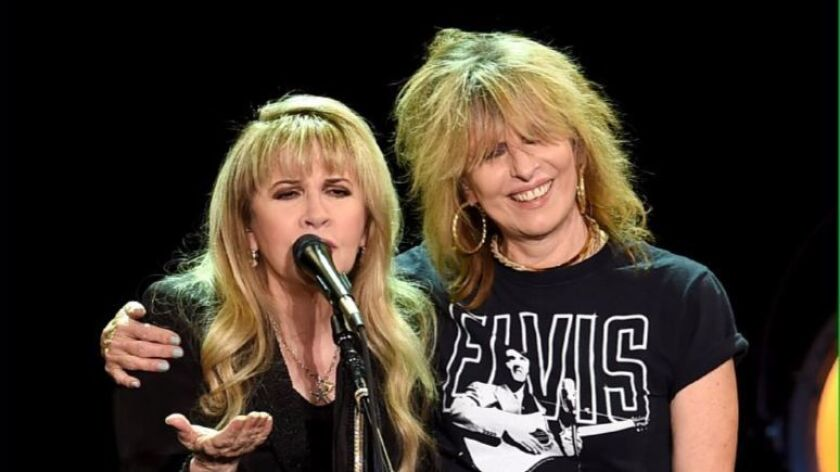 Stevie Nicks (left) and Chrissie Hynde are shown on stage at The Forum on December 18, 2016 in Inglewood, California.