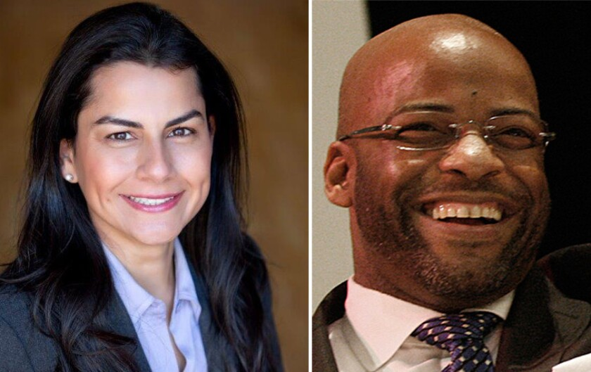 Nanette Barragan and state Sen. Isadore Hall