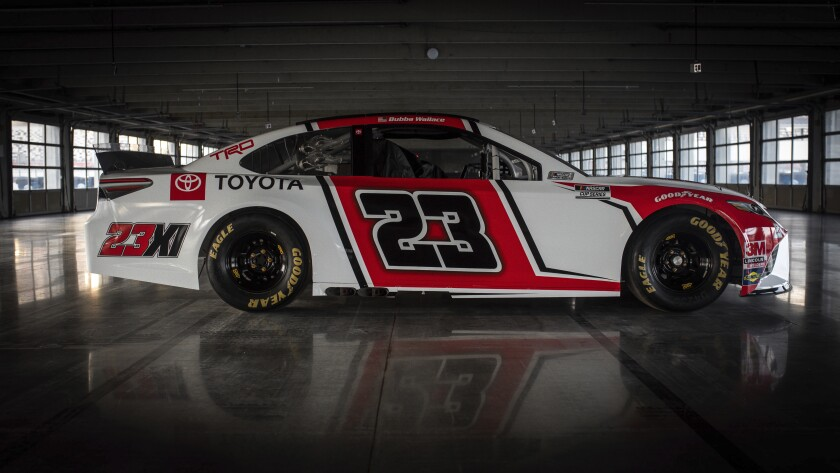 This image provided by Toyota Racing, shows the new No. 23 Toyota Camry at at Charlotte Motor Speedway, Saturday, Oct. 24, 2020, in Charlotte, N.C. Hall of Fame basketball player and Charlotte Hornets owner Michael Jordan expects to field a winning team when 23XI (pronounced twenty-three eleven) Racing begins NASCAR competition next season. The car will be driven by Bubba Wallace and will be a Toyota in an alliance with Joe Gibbs Racing. (Toyota Racing via AP)