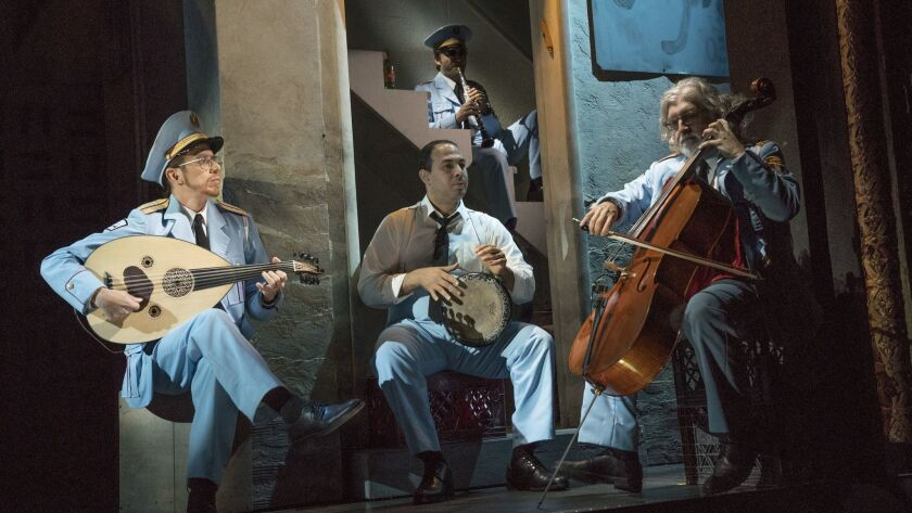 """Harvey Valdes, Ossama Farouk, Sam Sadigursky and Garo Yellin in """"The Band's Visit,"""" at the Ethel Barrymore Theater in New York."""