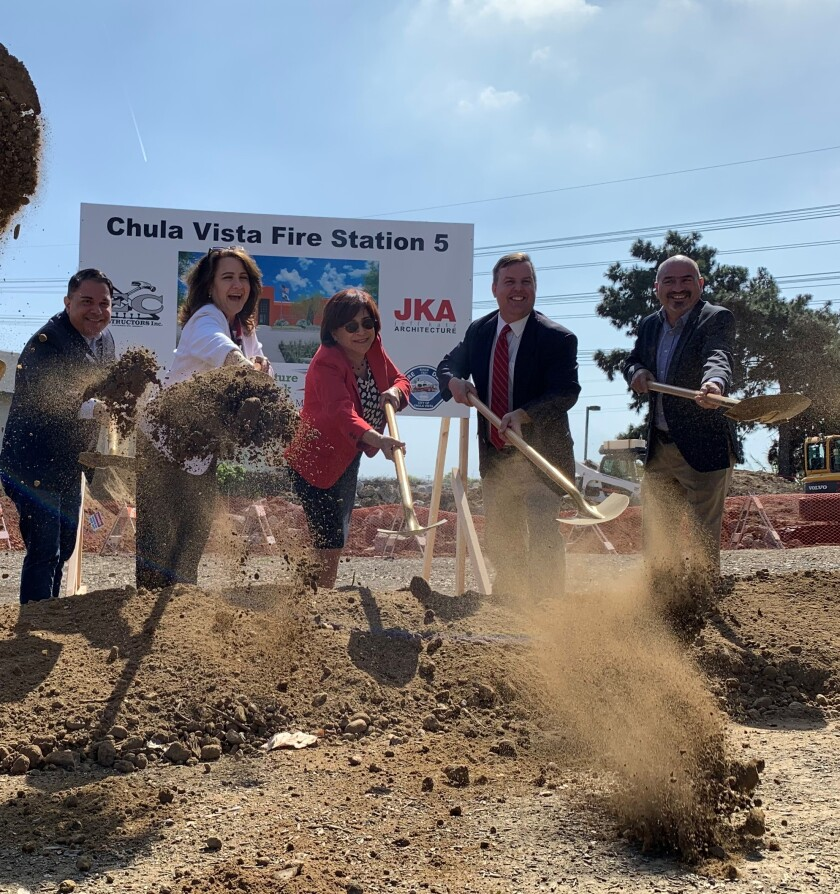 From the left, Councilmembers Stephen Padilla and Jill Galvez join Mayor Mary Casillas Salas and Councilmembers John McCann and Mike Diaz in hosting a groundbreaking ceremony for the new Fire Station No. 5.