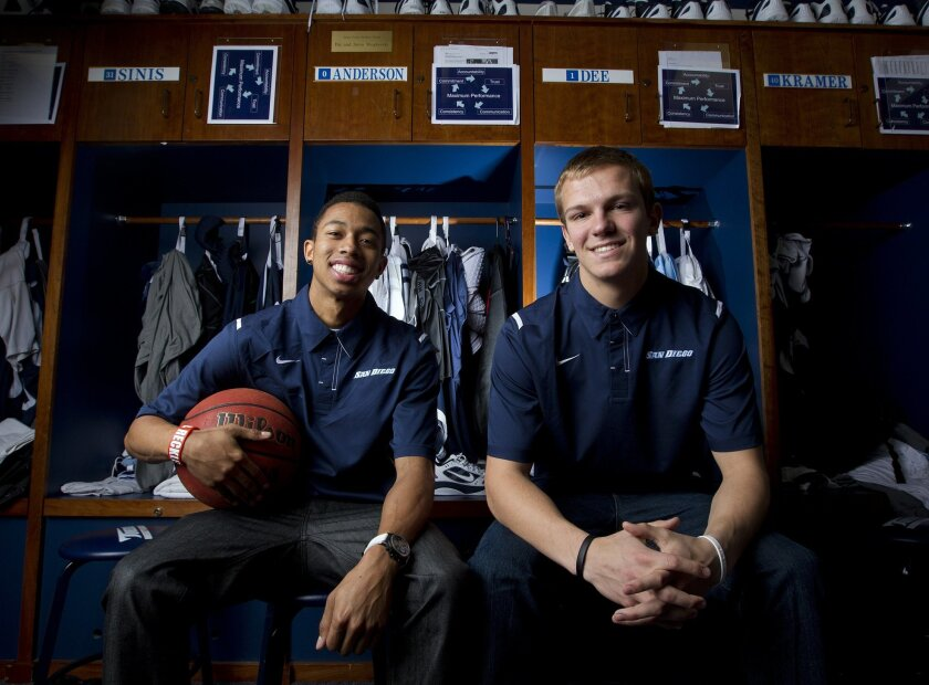 USD guards Chris Anderson and Johnny Dee in the Toreros locker room.