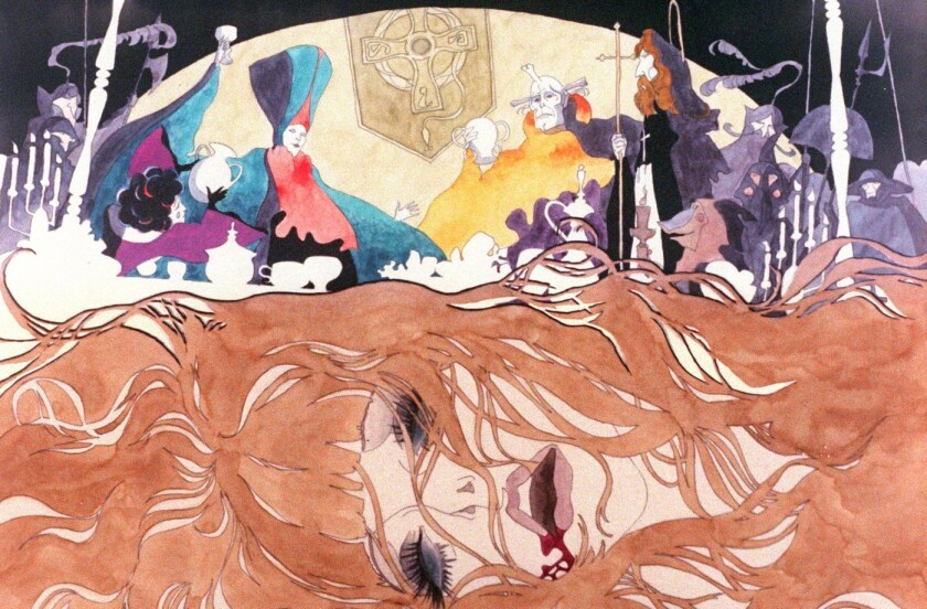 "A scene from the 1973 animated film ""Belladonna of Sadness."""