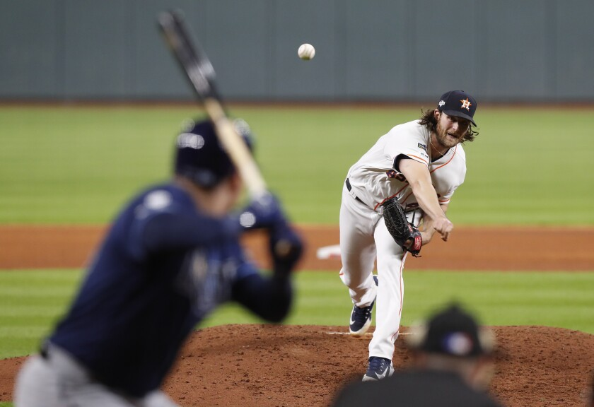 Houston Astros pitcher Gerrit Cole delivers against the Tampa Bay Rays.