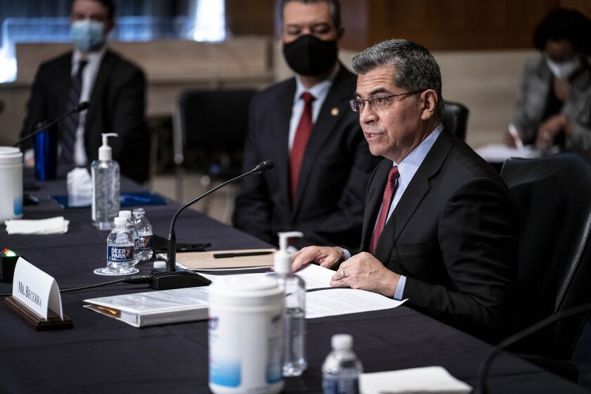 Xavier Becerra speaks at a Senate committee hearing on his nomination
