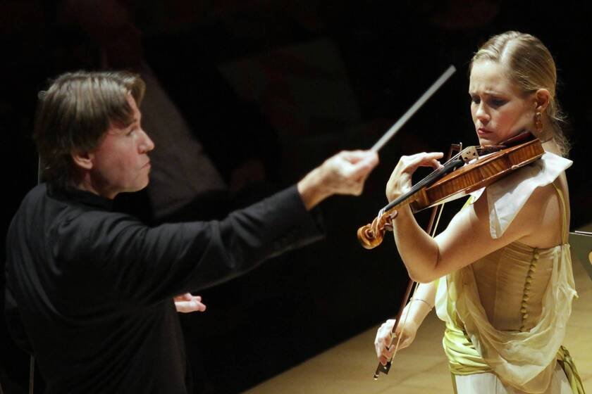 Violinist Leila Josefowicz in Esa-Pekka Salonen's Violin Concerto with Salonen conducting the L.A. Philharmonic at Walt Disney Concert Hall on Oct. 26, 2013.